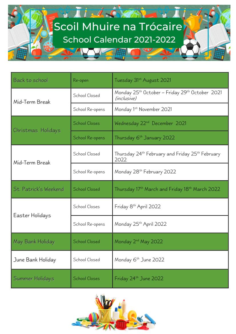 School Calendar 2021-22